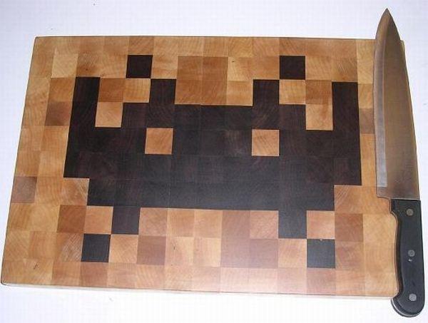 Space Invader Cutting Board