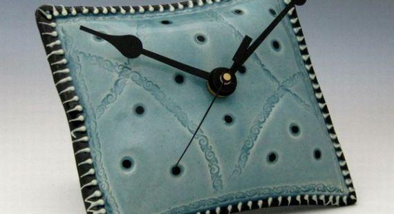 Unique pillow shaped ceramic wall clock