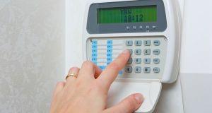 Close up of a security alarm keypad