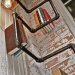 Industrial Pipe Corner Shelf with Pendant Lighting 1