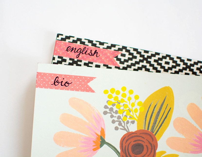 DIY washi tape notebook labels