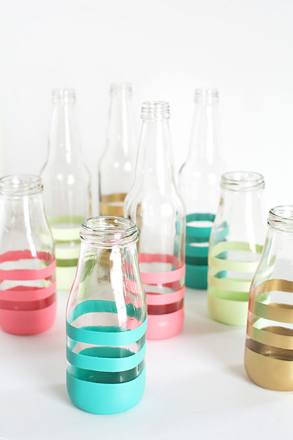 diy spray painted bottles. Black Bedroom Furniture Sets. Home Design Ideas