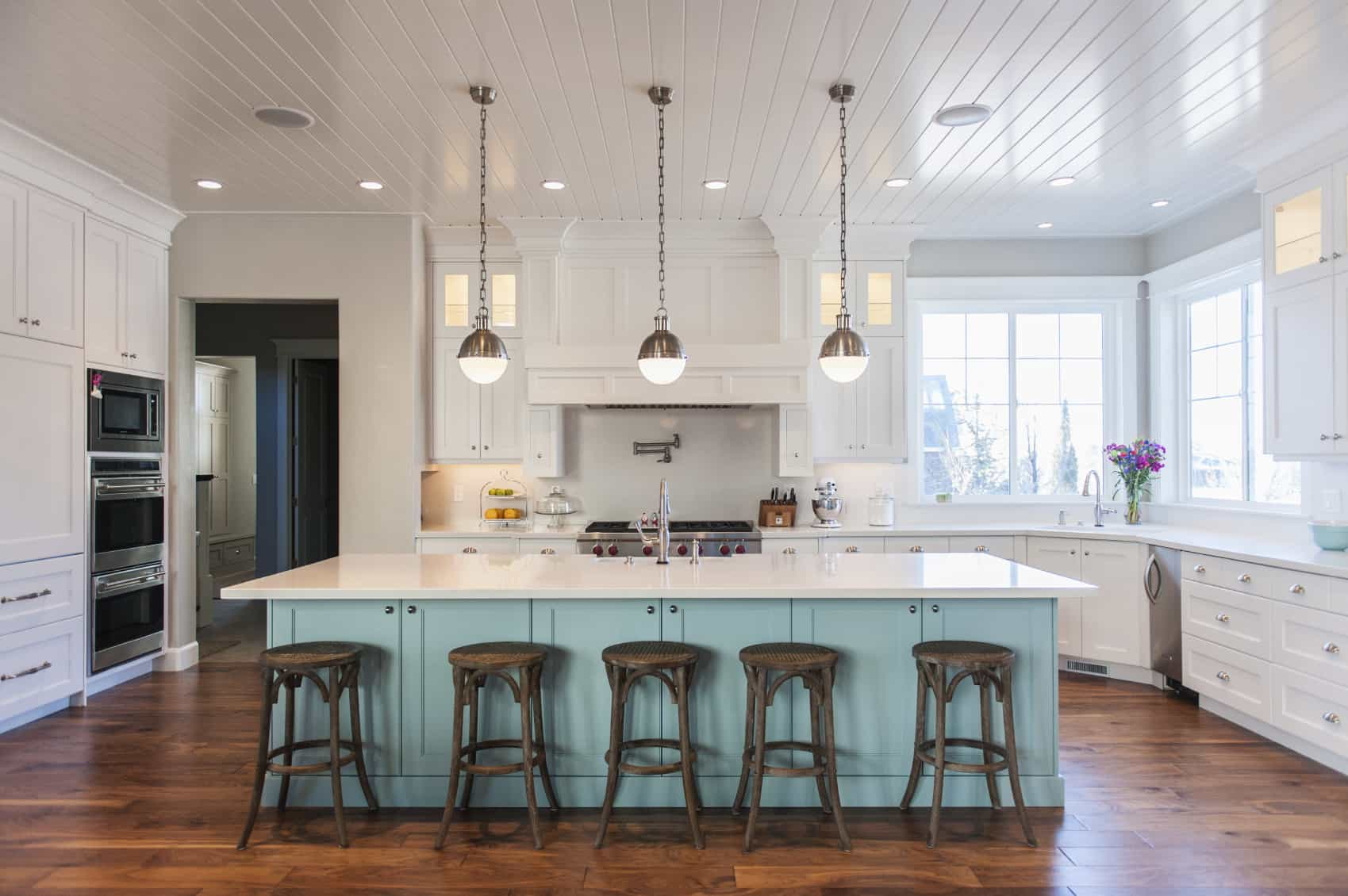 59 luxury kitchen designs that will captivate you blue cabinets kitchen Bright contemporary kitchen featuring white and wooden color The sky blue island is quite large