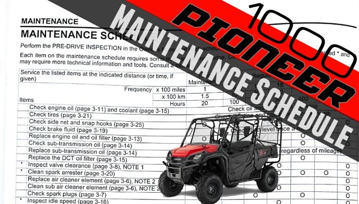 2016 Honda Pioneer 1000 Maintenance    Service Schedule
