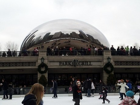 Gorgeous view of skating in front of The Bean #LoveThisCity #Cbias