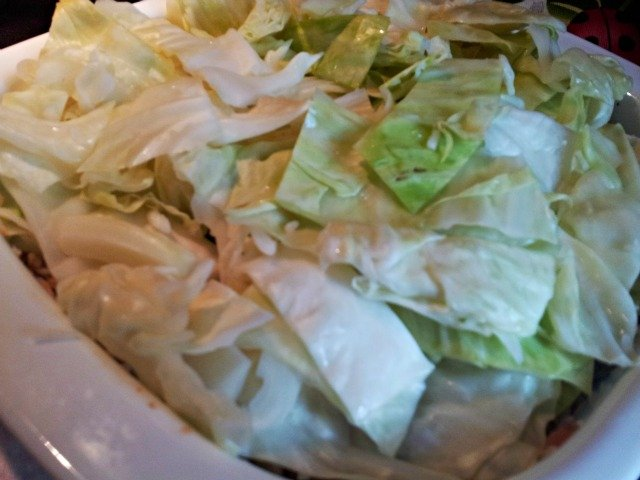 Simply place the cabbage atop the rice