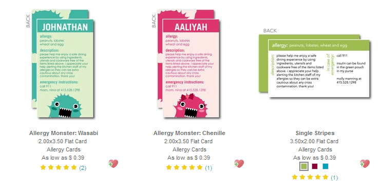 Allergy cards from Tiny Prints
