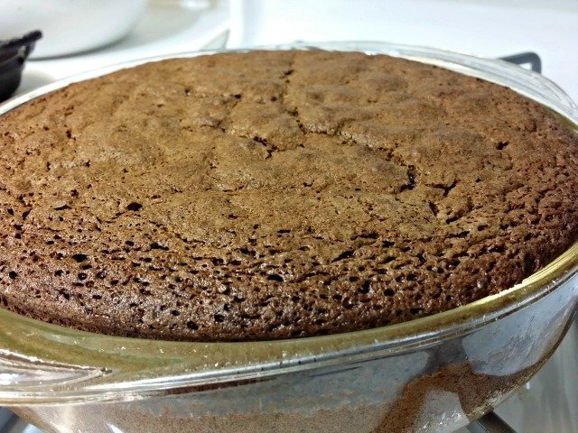 Chocolate olive oil cake baked