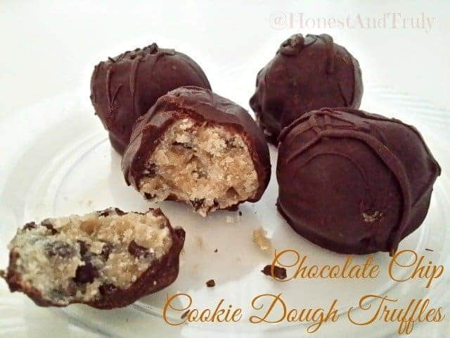 Chocolate chip cookie dough truffles on a plate