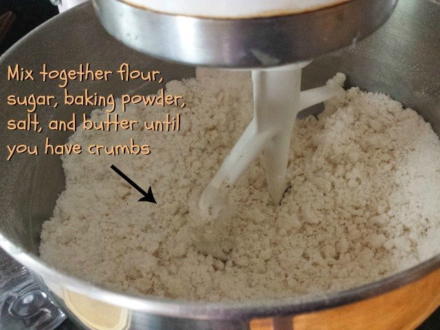 Mix dry ingredients with butter until crumbs form
