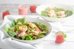 summer shrimp salad with strawberry mint algae oil dressing