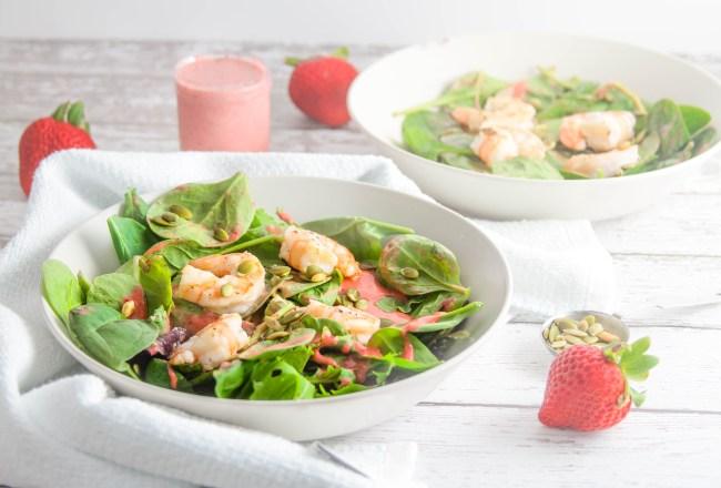 summer shrimp salad with strawberry mint algae oil dressing