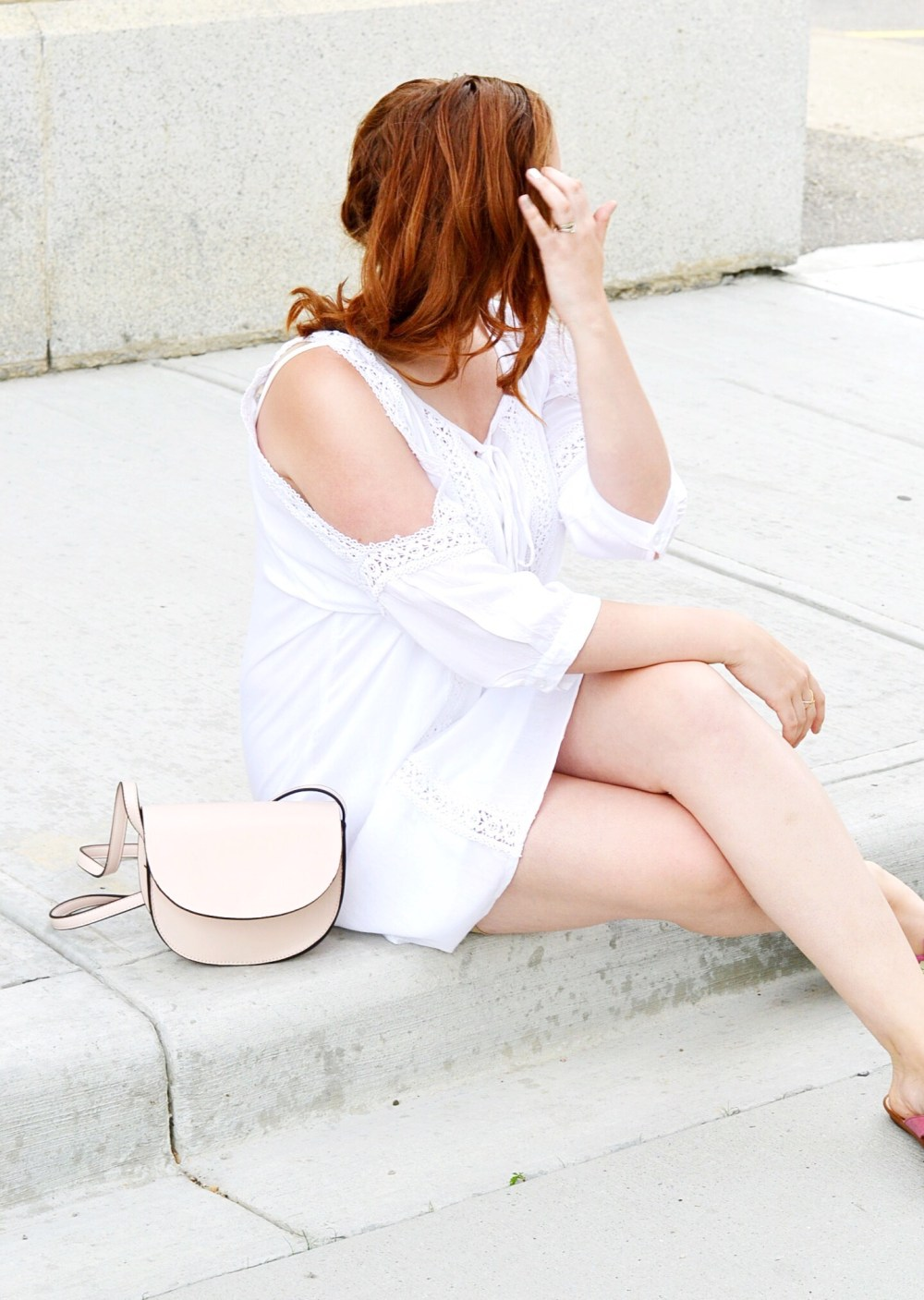 Canadian Fashion Blogger wearing Cold Shoulder Dress Transform Your Beach Wear