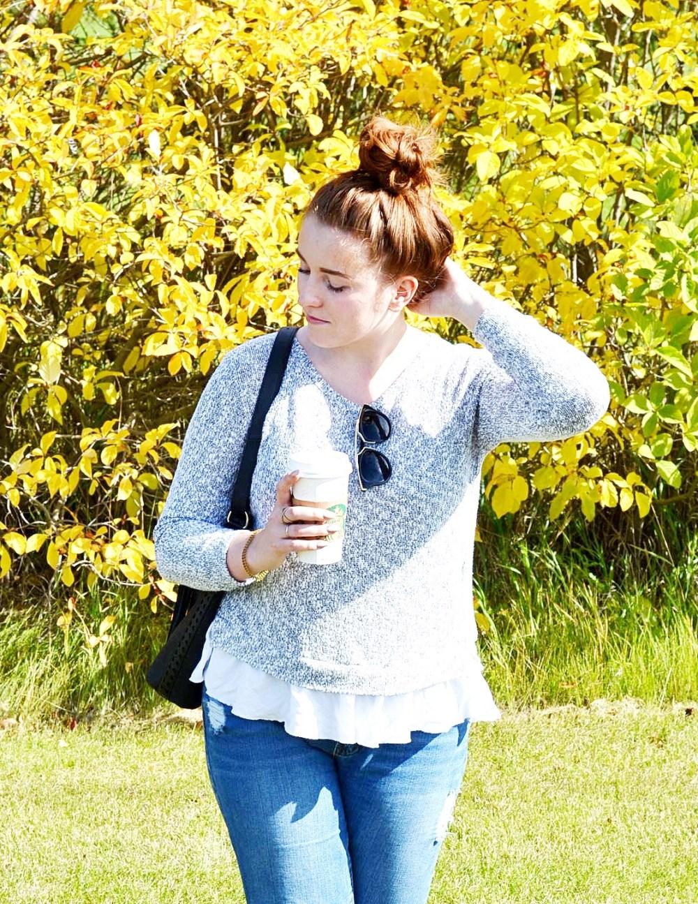 fall fashion peplum knit top boyfriend jeans