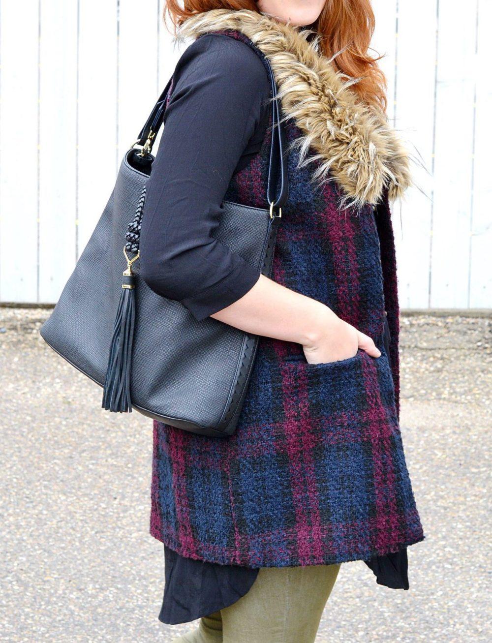 Edmonton Fashion Blogger wearing Faux fur vests