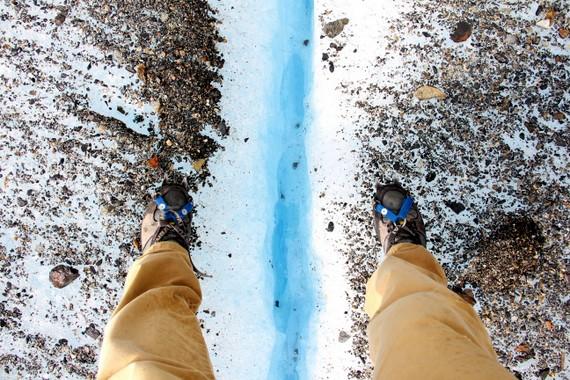 Mikes crampons at Big Ice hike Perito Moreno