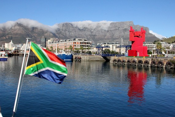 Harbor at Cape Town with South African Flag