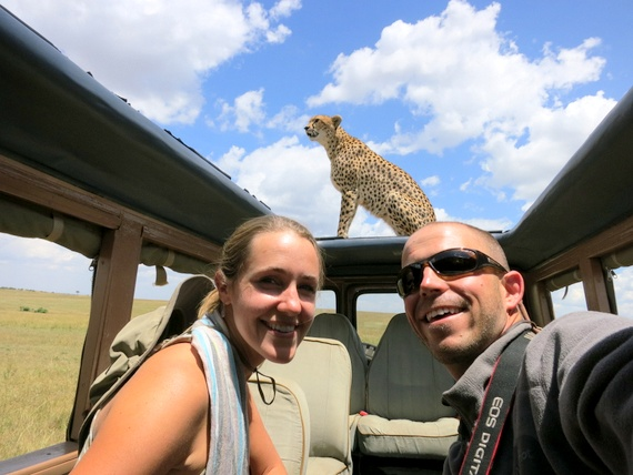 Cheetah on the roof of our safari vehicle in the Masai Mara