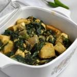 Tofu Palak (Tofu and Sauteed Spinach)
