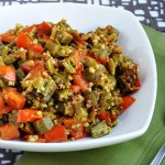 Bhindi Shimla Mirch (Okra sauteed with Red Peppers)