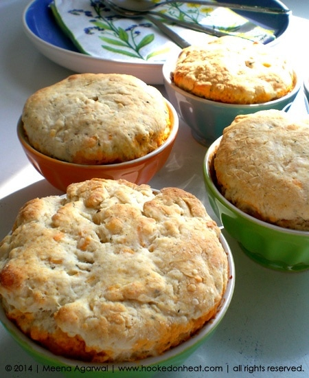 Recipe for Chili Pot Pies taken from www.hookedonheat.com. Visit site for detailed recipe.