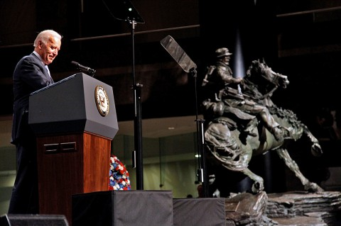 Vice President Joseph Biden addresses the audience during the dedication and unveiling ceremony for the De Oppresso Liber statue at the Winter Garden Hall in Two World Financial Center near Ground Zero, Nov. 11th, 2011. © Staff Sgt. Andrew Jacob