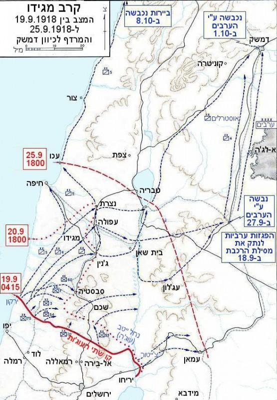 זירת ארץ ישראל ב-1917/18 - קו שתי העוג'ות באדום