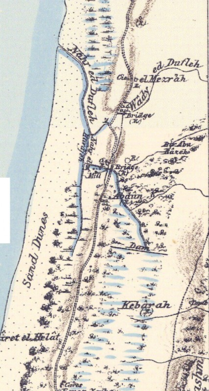 Portion of map produced by the Survey of Western Palestine, first published in 1880 by the Committee of the Palestine Exploration Fund. The editor, Walter Besant, died in 1901. This portion is based on a survey of 1878