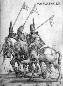 Hopfer, Daniel (ca 1470-1536): Etching, Three Mamelukes with lances on horseback.