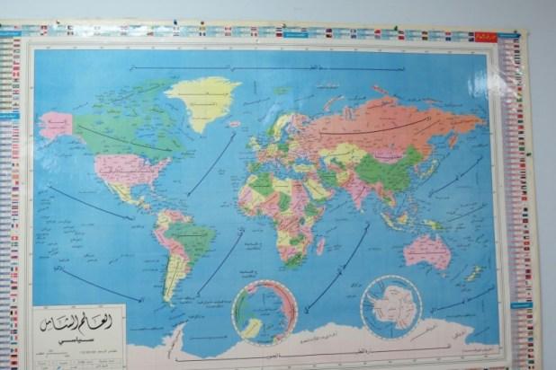מפת העולם על קיר המתנ״ס