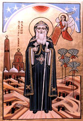 איקונין קופטי של פכומיוס, מייסד מנזרי הקוינוביון - St. Pakhom