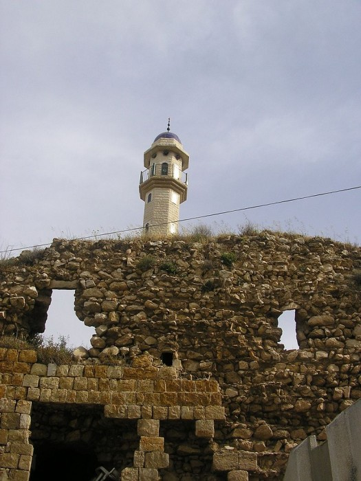 The remains of the Zaydani mosque and fortress of Deir Hanna, built by Sa'd el-Omar, the brother of Zahir al-Umar
