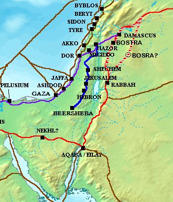 """דרך ההר (כחול), דרך הים (סגול), דרך המלך (אדום), ודרכי מסחר עתיקות נוספות. 1300 לפנה""""ס בערך Original version of map (File:Ancient Levant routes.png) (not including Way of the Patriarchs in blue) was created by Briangotts יוצר Atefrat"""