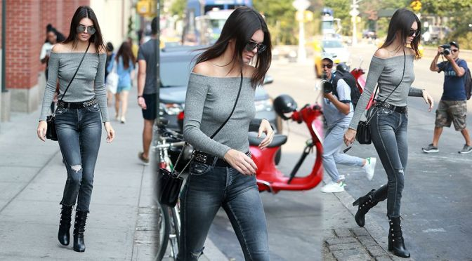 Kendall Jenner – Braless Candids in New York City