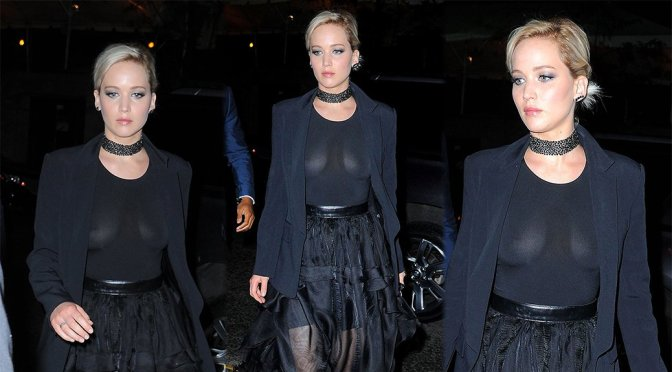 Jennifer Lawrence – Braless See-Through Candids in New York