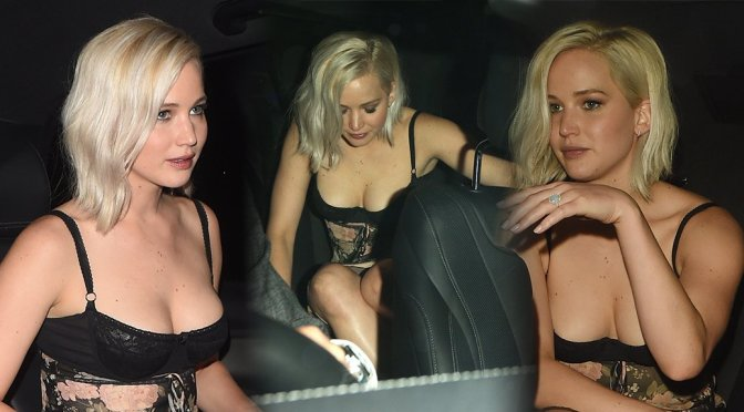 Jennifer Lawrence – Cleavage Candids in London