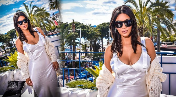 Kim Kardashian – Cleavage Candids in Cannes