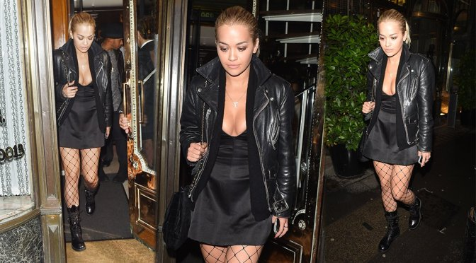 Rita Ora – Cleavage Candids in London