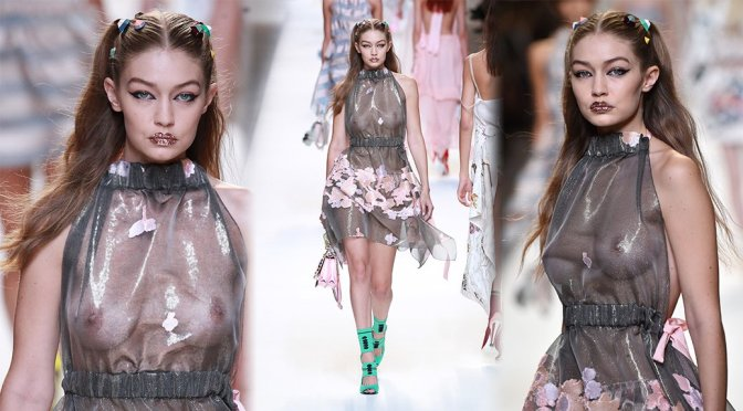 Gigi Hadid – Braless See-Through at Fendi Fashion Show in Milan