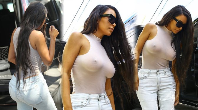 Kim Kardashian – Braless See-Through Candids in Miami