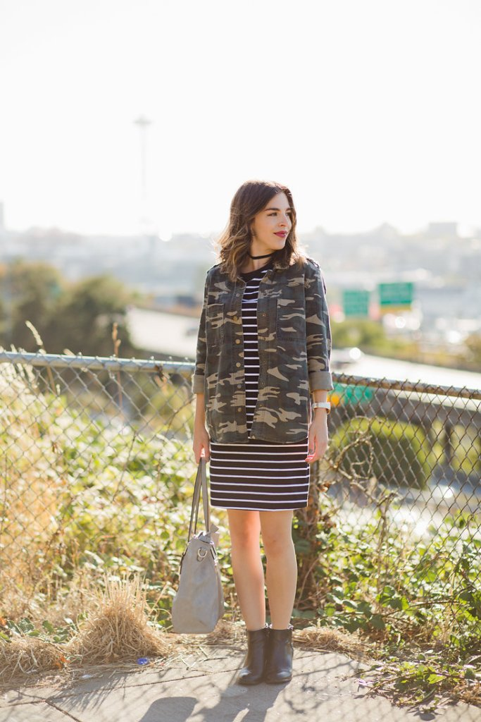 black-and-white-striped-t-shirt-dress-womens-camo-jacket-seattle-fashion-blogger-5