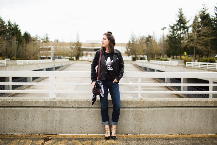 Seattle fashion blogger street style adidas tee leather jacket studded heels 12