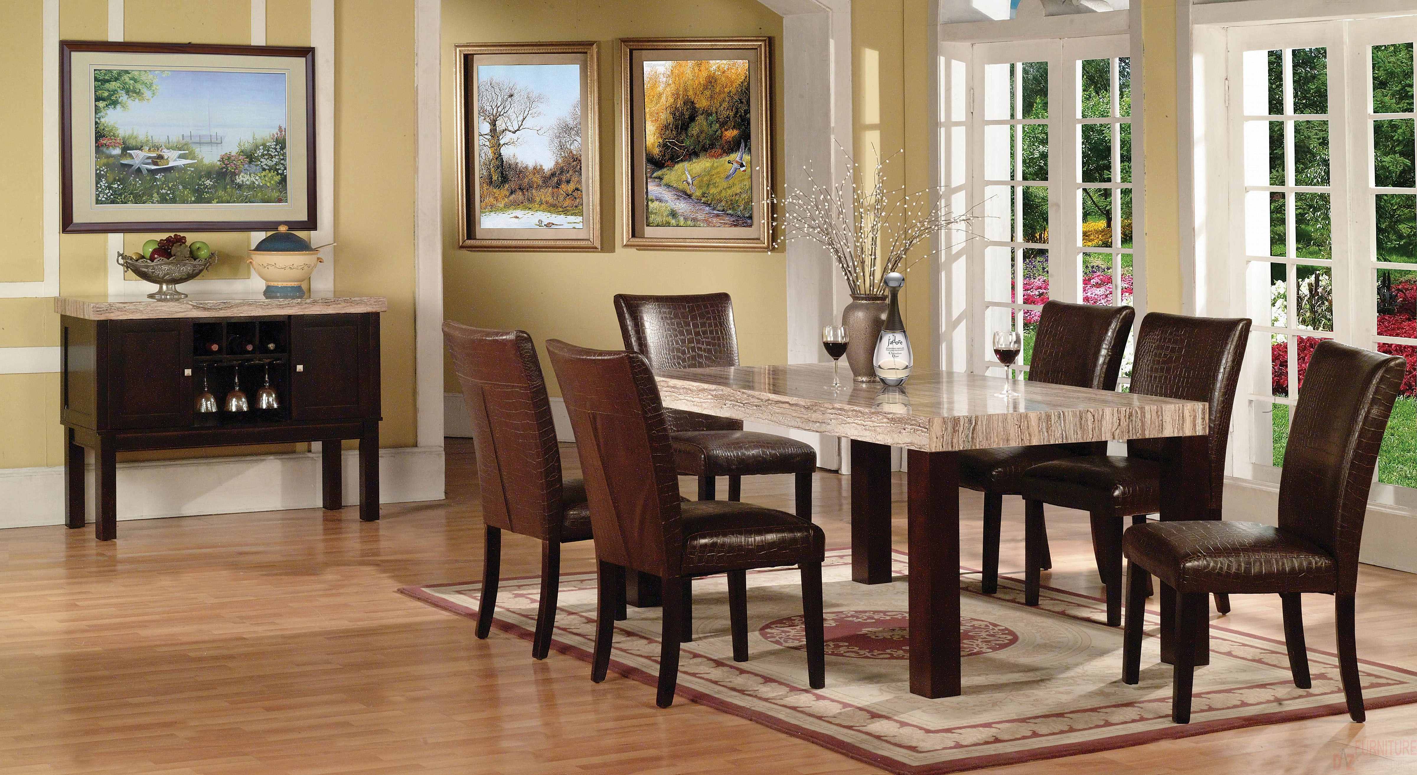 fraser casual dining faux marble style brown dining set marble top kitchen table products acme furniture color fraser