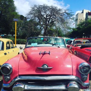 Old pink car in Havana