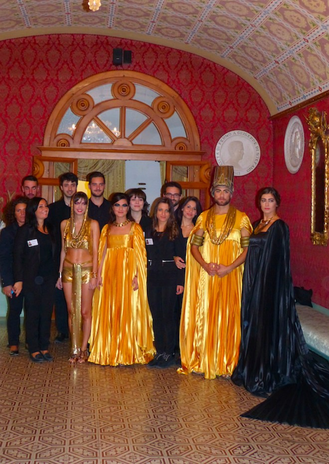 Main cast of Aida opera right before the premier in beautiful Fermo theatre