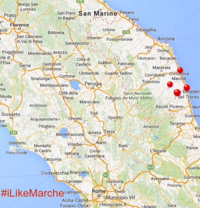 Map of Marche Region Italy
