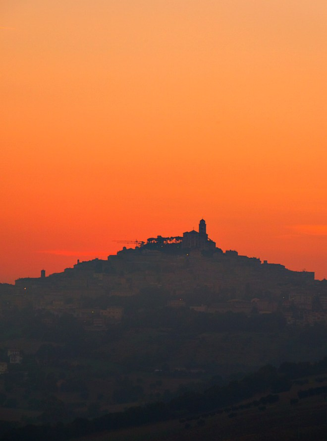 Sunset in Marche Italy on the road to Fermo