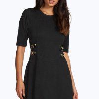 BOOHOO BLACK BUCKLE SWING DRESS