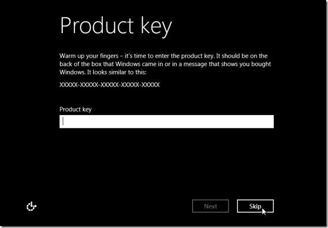 Insert Valid Licence Key of Windows 8