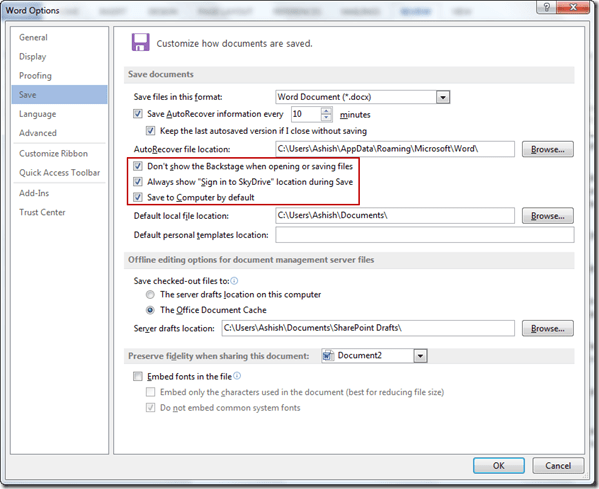 ms word 2013 saving options